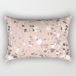 Pink Quartz and Marble Terrazzo Rectangular Pillow