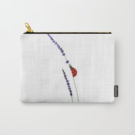 red ladybug and purple lavender Carry-All Pouch