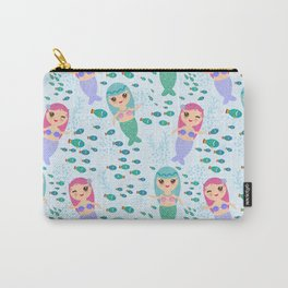 Mermaid with blue and pink hair cute kawaii girl Carry-All Pouch