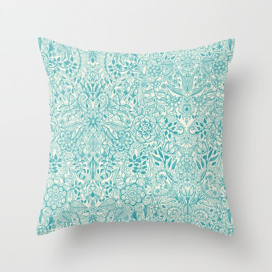 Cream Floral Throw Pillows : Detailed Floral Pattern in Teal and Cream Throw Pillow by Micklyn Society6