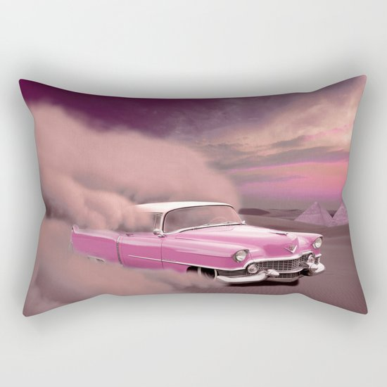 A pink cadillac and the Giza Pyramids Rectangular Pillow