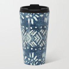 Vintage indigo inspired  flowers and lines Travel Mug