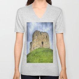 York Castle And Daffodils Unisex V-Neck
