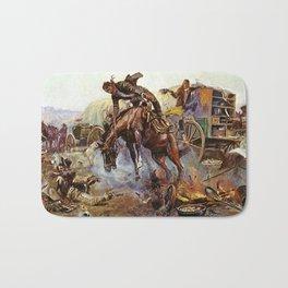C.M. Russell Cook's Troubles Vintage Western Art Bath Mat