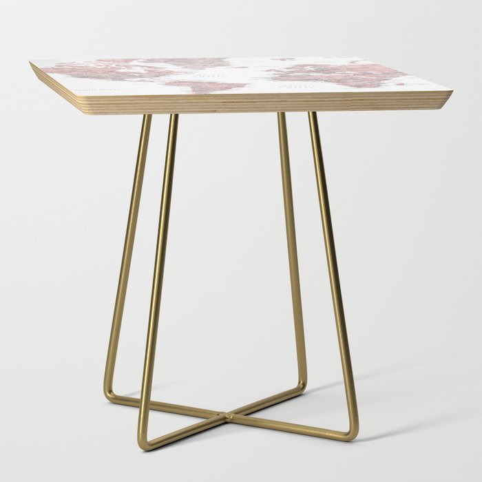 Dusty pink and grey detailed watercolor world map Side Table