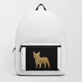 Golden Frenchie on black Backpack