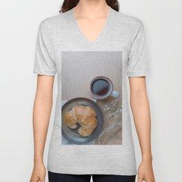 Croissant and black coffee Unisex V-Neck