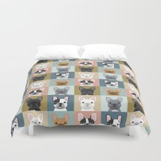 French Bulldog portraits pattern dog person gift love animal pet puppy frenchie bulldog valentines Duvet Cover