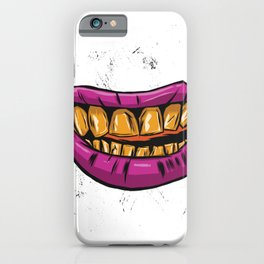 Mouth with gold teeth iPhone Case
