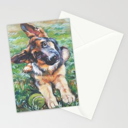 German Shepherd dog portrait painting by L.A.Shepard fine art alsatian Stationery Cards