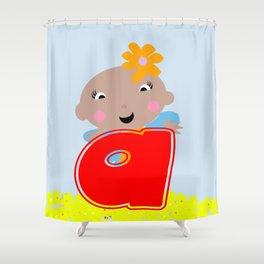 Ananda The Fairy Baby - Monogram Shower Curtain