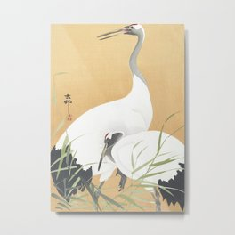 Couple Of Cranes - Vintage Japanese Woodblock Print Art Metal Print