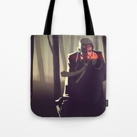 sin city Tote Bags featuring Sin City woods by Sam Daley