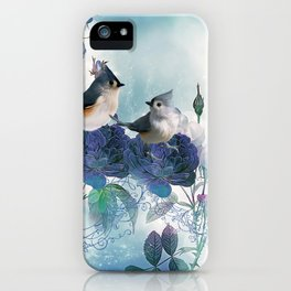 Cute birds with flowers iPhone Case