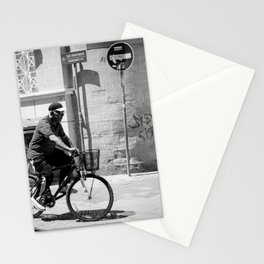 Old man riding his bike in Old Nicosia, Cyprus Stationery Cards