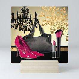 Chandelier Handbag Pumps Cosmetics Fashion Collage Mini Art Print
