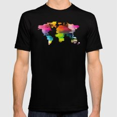 Geo World Map Black LARGE Mens Fitted Tee