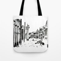 cityscape Tote Bags featuring CITYSCAPE by hawwa a