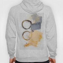 abstract circles blue, peach and gold illustration Hoody