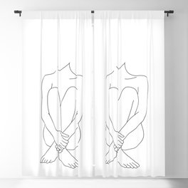 Nude figure line drawing - Mimi Blackout Curtain