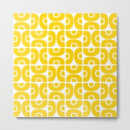 Groovy Mid Century Modern Pattern Yellow Metal Print