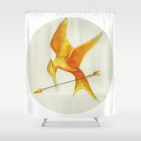 mockingjay Shower Curtains featuring Mockingjay THGames by Blanca MonQnill Sole
