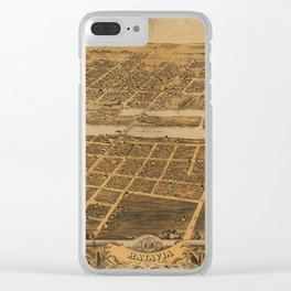 Bird's eye view of Batavia, Kane County, Illinois (1869) Clear iPhone Case