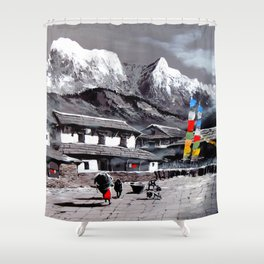 Panoramic View Of Everest Base Camp Shower Curtain