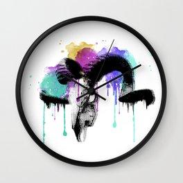 watercolor ram skull Wall Clock