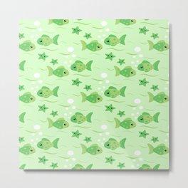 Tropical Lime Green Fish Metal Print