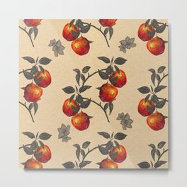 apple orchard watercolor pattern Metal Print