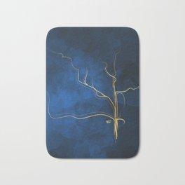 Kintsugi Electric Blue #blue #gold #kintsugi #japan #marble #watercolor #abstract Bath Mat