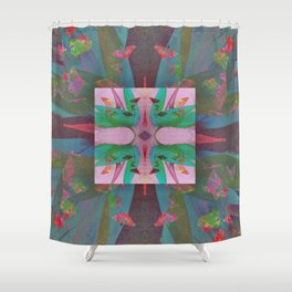 Abstract Contemporary Floral Geometric Shower Curtain