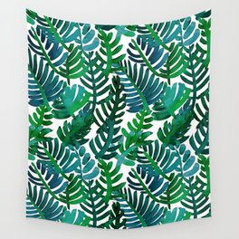 Round Palm Blue Green Wall Tapestry