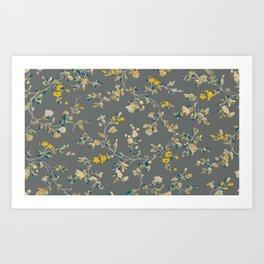 vintage floral vines - greys & mustard Art Print