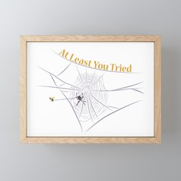 At Least You Tried - Bee Caught in a Web Framed Mini Art Print