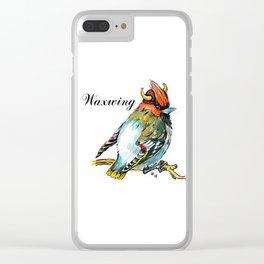 Waxwing bird in the viking helmet Clear iPhone Case