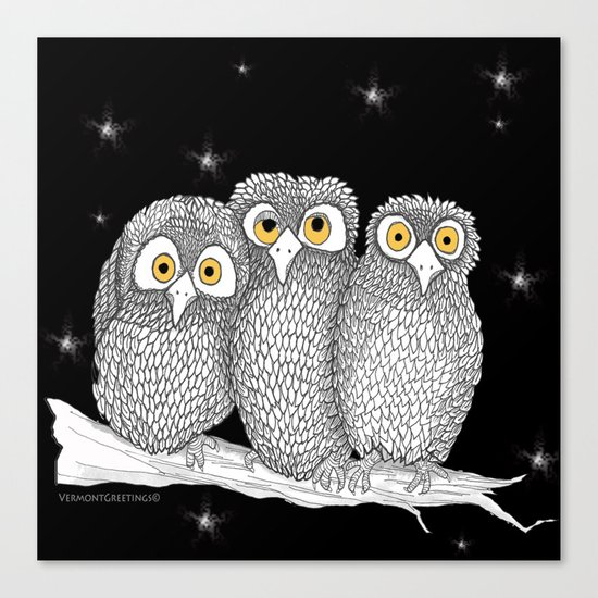 Zentangle Owl Friends at Night  Canvas Print