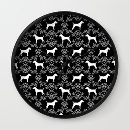 Jack Russell Terrier floral silhouette dog breed pet pattern silhouettes dog gifts black and white Wall Clock