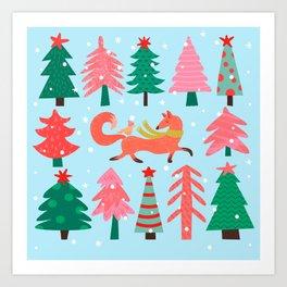 Fox And Bird In A Christmas Tree Winter Wonderland Art Print