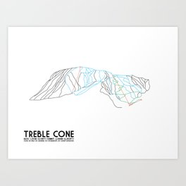 Treble Cone, Wanaka NZ - Minimalist Trail Art Art Print