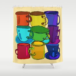 Tea Cups and Coffee Mugs Spectrum Shower Curtain