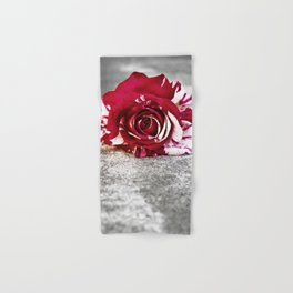 Variegated Rose on Concrete Hand & Bath Towel
