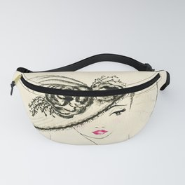 Vintage Lady in Fashionable Hat Fanny Pack