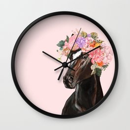 Horse with Flowers Crown in Pink Wall Clock