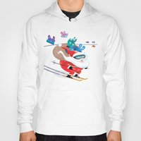 skiing Hoodies featuring Santa Skiing 1 by drawgood