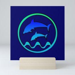 Dolphin Jumping Hoop Mini Art Print