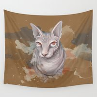 sphynx Wall Tapestries featuring Sphynx cat by Illustratic
