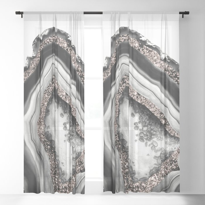 Agate Rose Gold Glitter Glam #4 #gem #decor #art #society6 Sheer Curtain