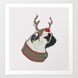 Pug Christmas Art Print
